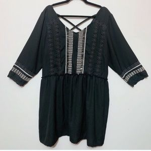 Alice & You Black Embroidered Tunic Top
